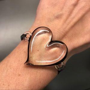 Yummi Glass Maroon Black Sterling Silver Bracelet